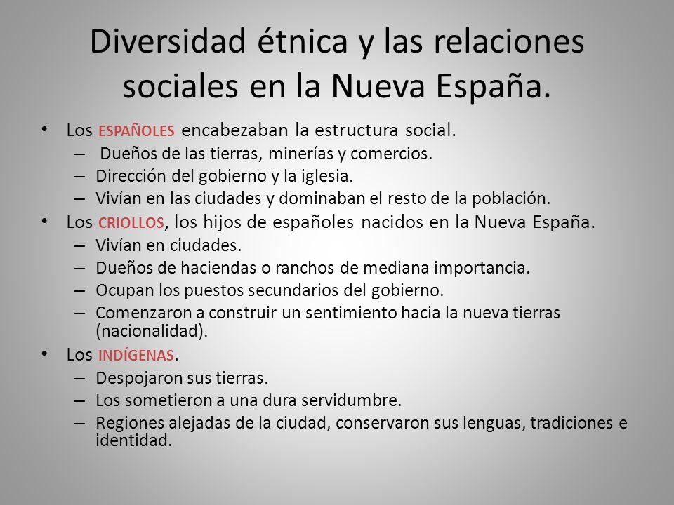 Diversidad étnica y las relaciones sociales en la Nueva España.