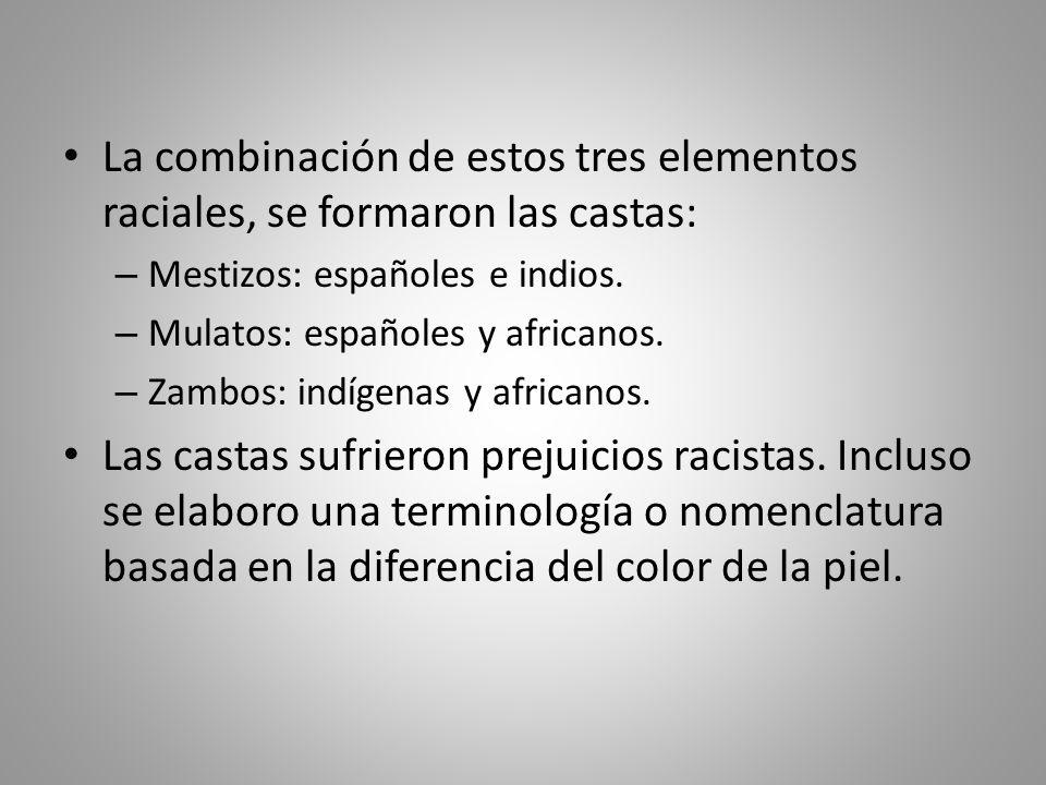 La combinación de estos tres elementos raciales, se formaron las castas: