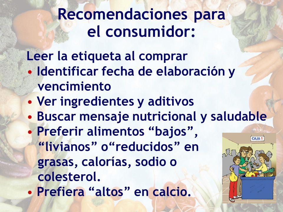 Recomendaciones para el consumidor:
