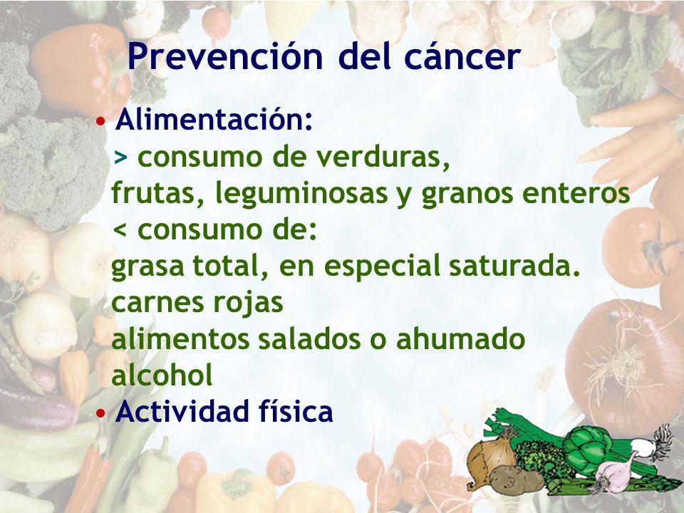 Prevención del cáncer Alimentación: > consumo de verduras,