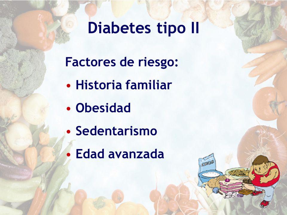 Diabetes tipo II Factores de riesgo: Historia familiar Obesidad