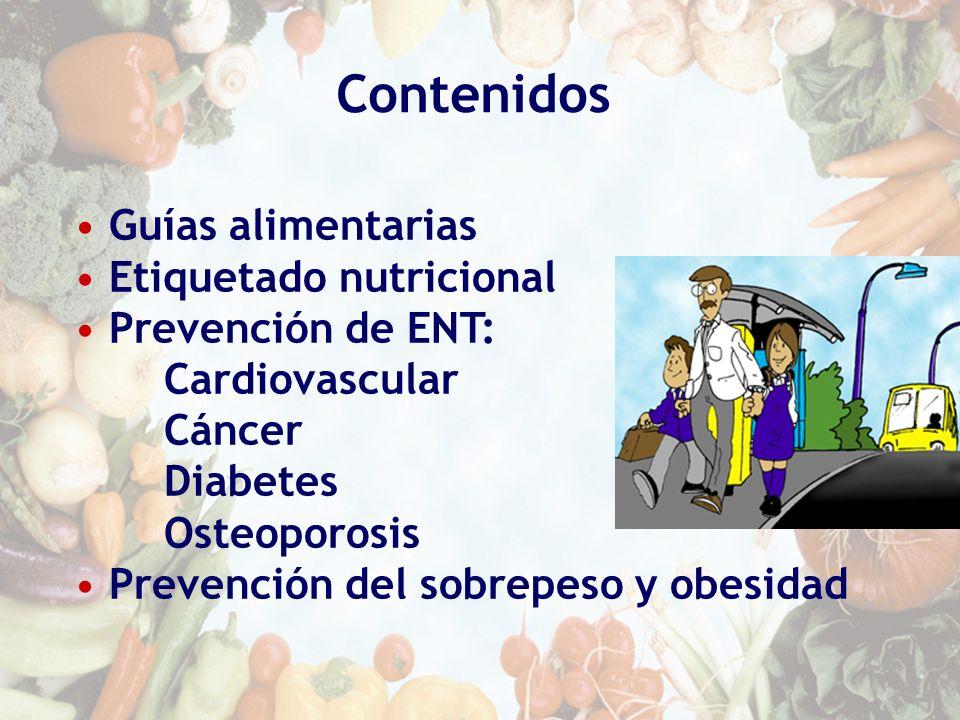 Contenidos Guías alimentarias Etiquetado nutricional