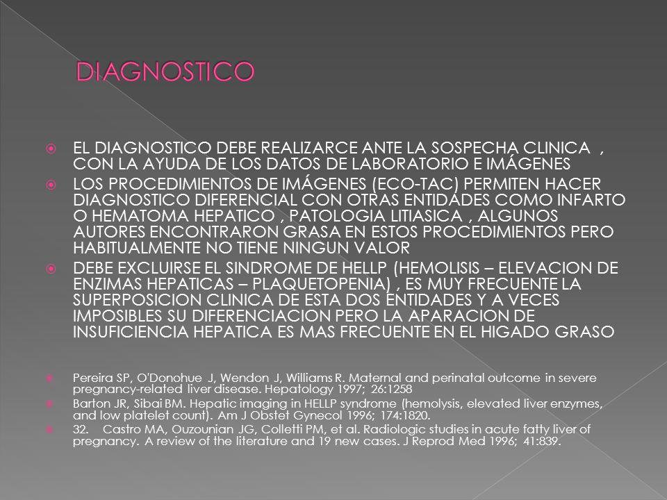 DIAGNOSTICO EL DIAGNOSTICO DEBE REALIZARCE ANTE LA SOSPECHA CLINICA , CON LA AYUDA DE LOS DATOS DE LABORATORIO E IMÁGENES.