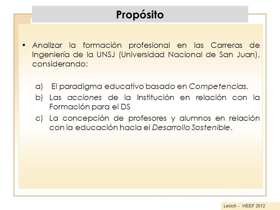 Propósito Analizar la formación profesional en las Carreras de Ingeniería de la UNSJ (Universidad Nacional de San Juan), considerando: