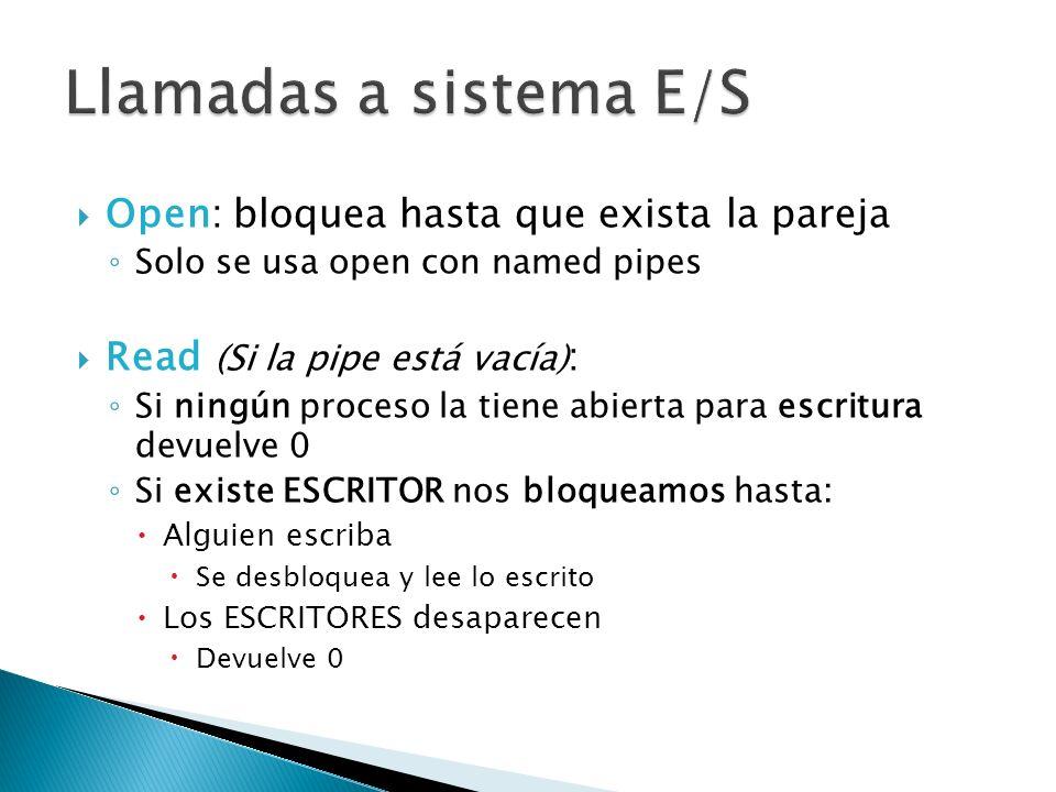 Llamadas a sistema E/S Open: bloquea hasta que exista la pareja