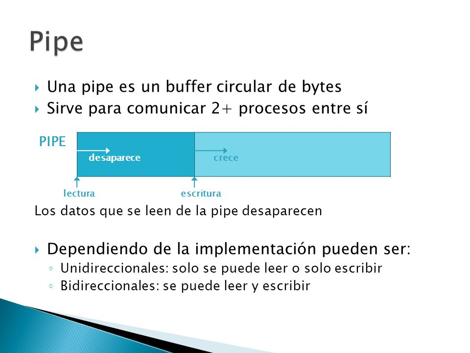 Pipe Una pipe es un buffer circular de bytes