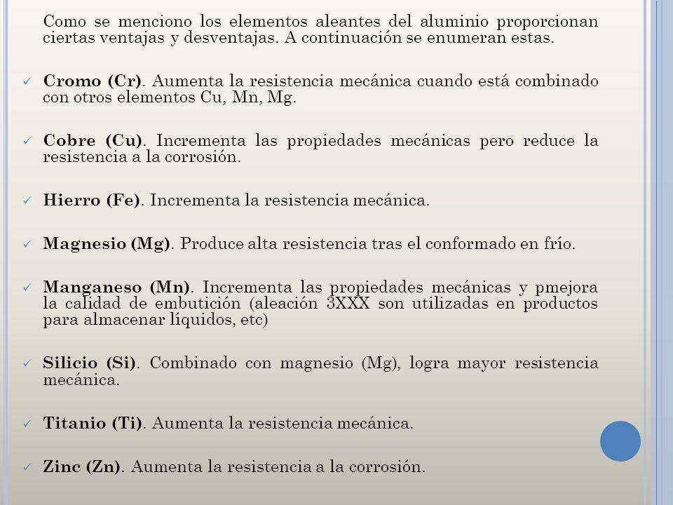 Hierro (Fe). Incrementa la resistencia mecánica.