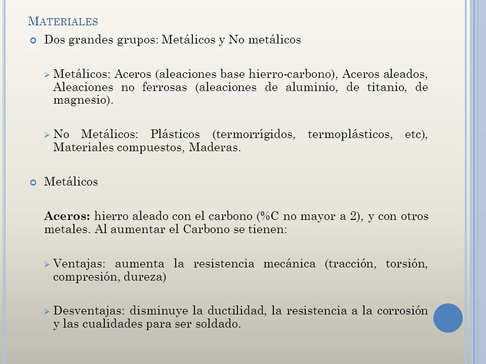 Materiales Dos grandes grupos: Metálicos y No metálicos.