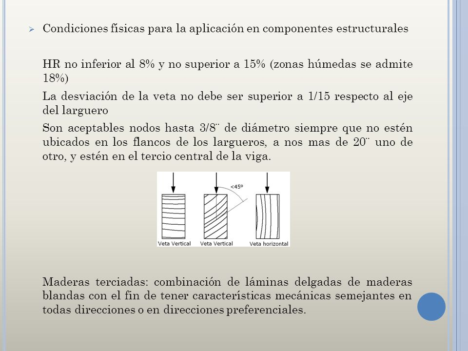 Condiciones físicas para la aplicación en componentes estructurales