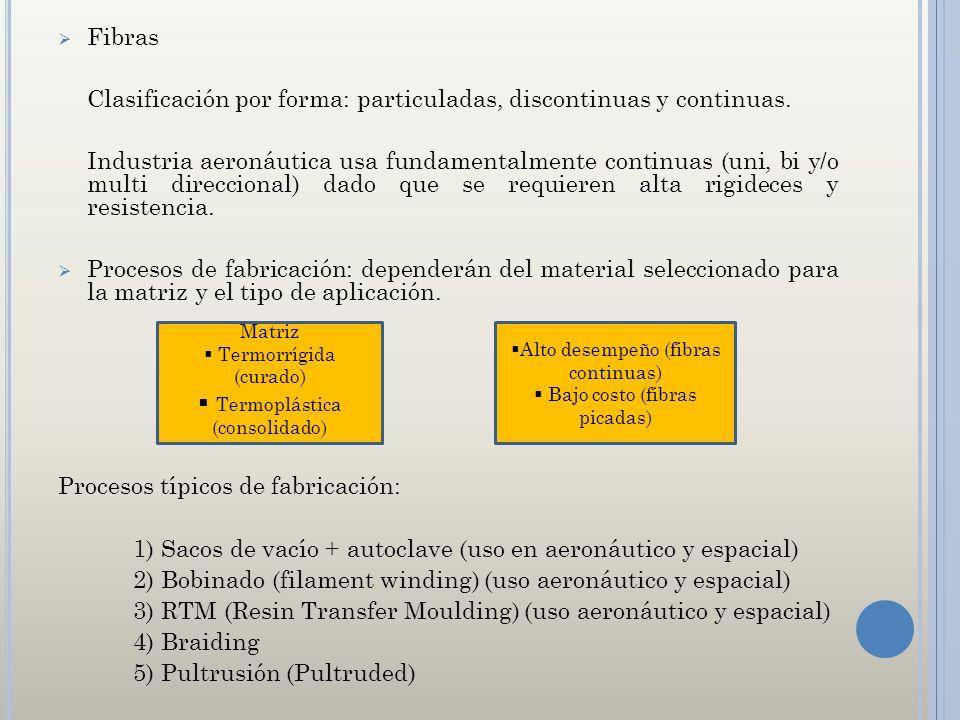 Clasificación por forma: particuladas, discontinuas y continuas.