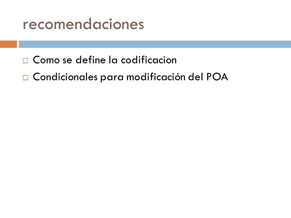 recomendaciones Como se define la codificacion