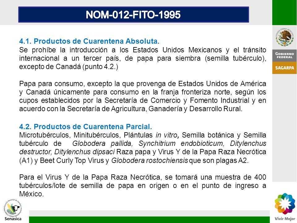 NOM-012-FITO-1995 4.1. Productos de Cuarentena Absoluta.