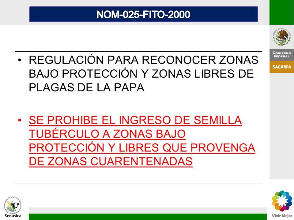 NOM-025-FITO-2000 REGULACIÓN PARA RECONOCER ZONAS BAJO PROTECCIÓN Y ZONAS LIBRES DE PLAGAS DE LA PAPA.
