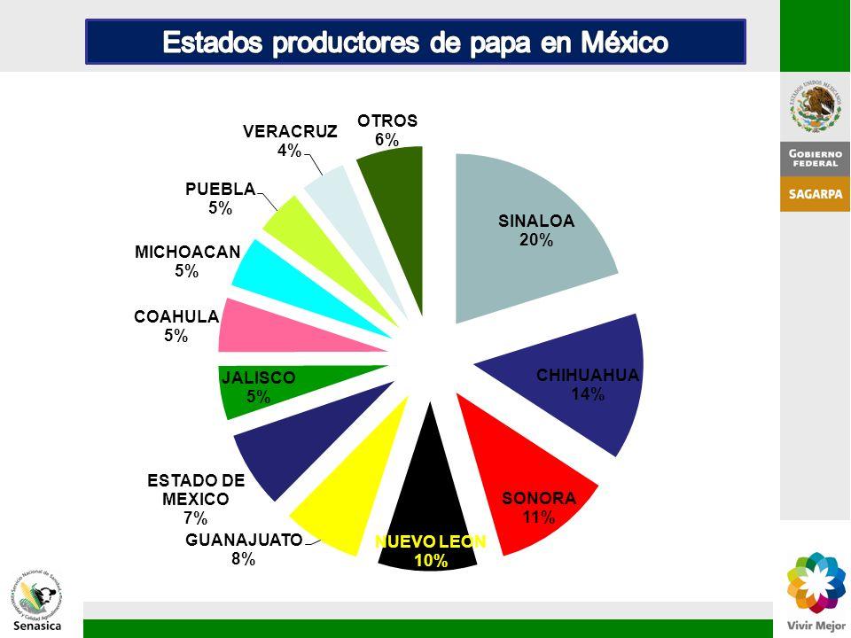 Estados productores de papa en México