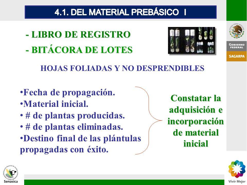 Constatar la adquisición e incorporación de material inicial