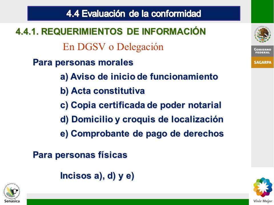 4.4 Evaluación de la conformidad