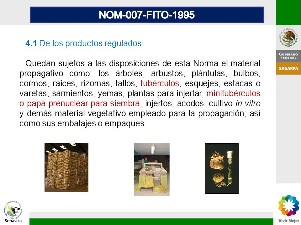 NOM-007-FITO-1995 4.1 De los productos regulados