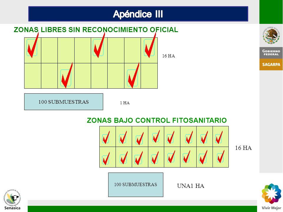 Apéndice III ZONAS LIBRES SIN RECONOCIMIENTO OFICIAL 1 HA