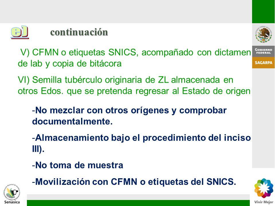 continuación e) V) CFMN o etiquetas SNICS, acompañado con dictamen de lab y copia de bitácora.