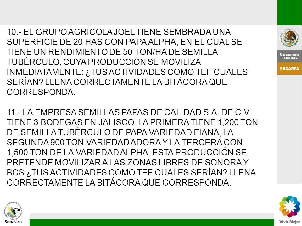 10.- EL GRUPO AGRÍCOLA JOEL TIENE SEMBRADA UNA SUPERFICIE DE 20 HAS CON PAPA ALPHA, EN EL CUAL SE TIENE UN RENDIMIENTO DE 50 TON/HA DE SEMILLA TUBÉRCULO, CUYA PRODUCCIÓN SE MOVILIZA INMEDIATAMENTE: ¿TUS ACTIVIDADES COMO TEF CUALES SERÍAN LLENA CORRECTAMENTE LA BITÁCORA QUE CORRESPONDA.