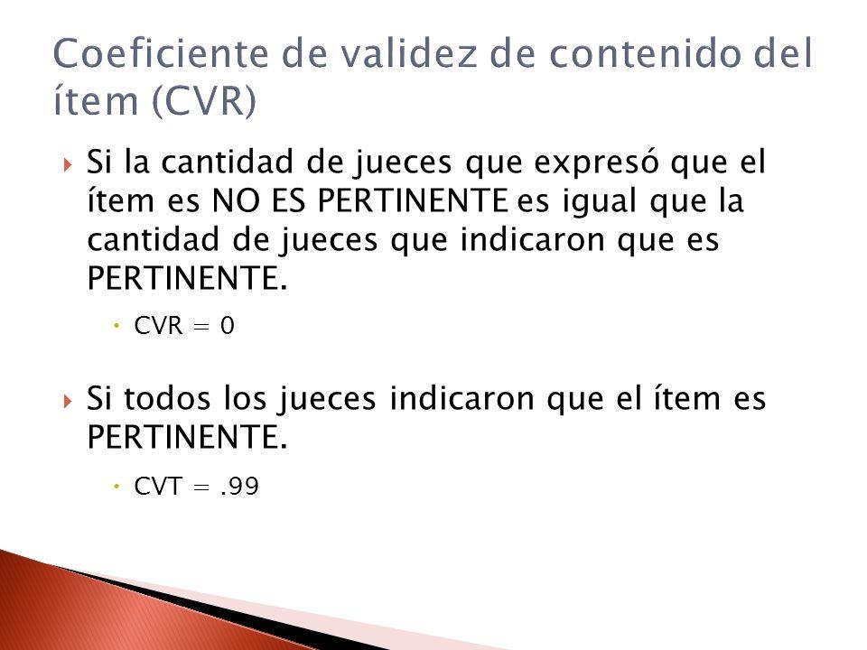 Coeficiente de validez de contenido del ítem (CVR)