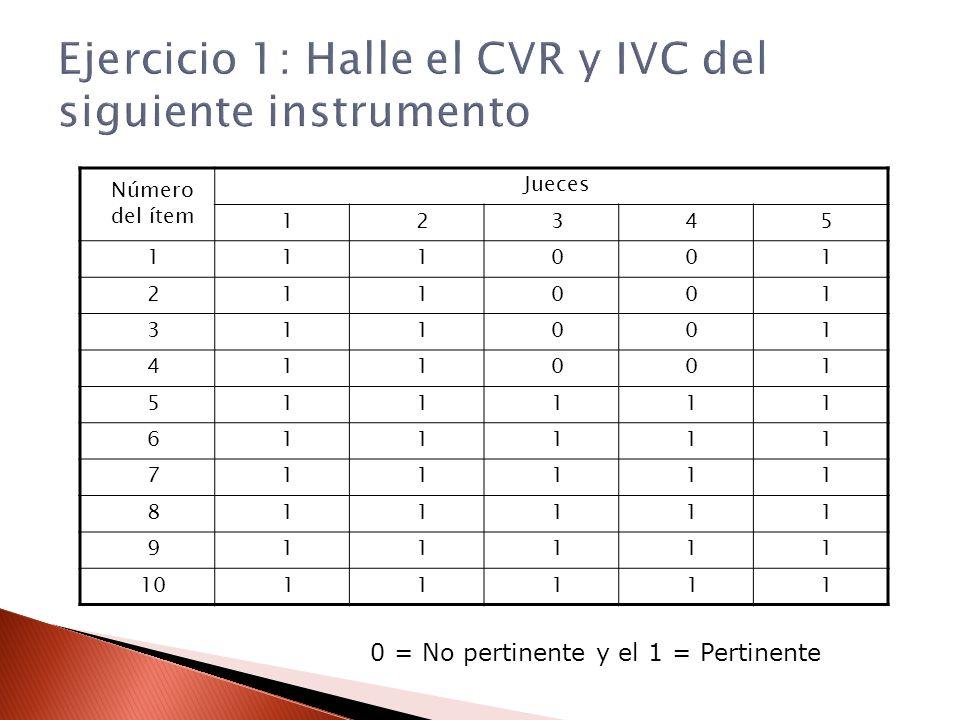Ejercicio 1: Halle el CVR y IVC del siguiente instrumento