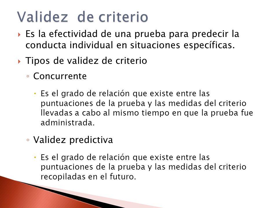 Validez de criterio Es la efectividad de una prueba para predecir la conducta individual en situaciones específicas.