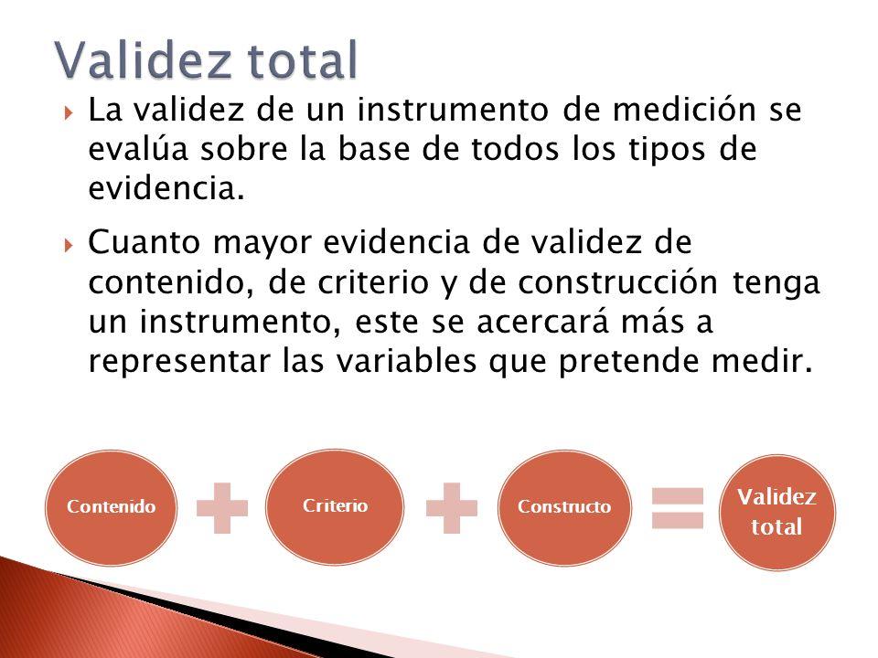 Validez total La validez de un instrumento de medición se evalúa sobre la base de todos los tipos de evidencia.