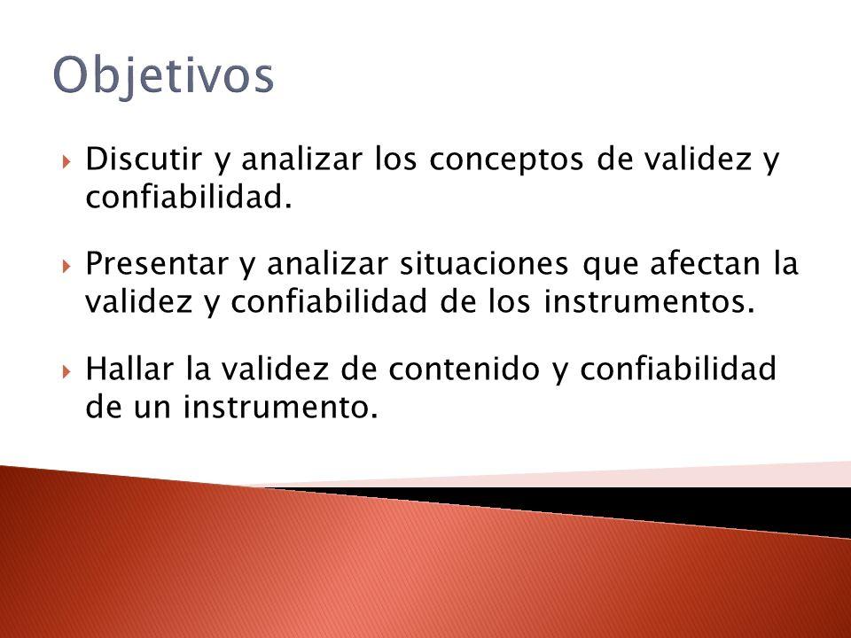 Objetivos Discutir y analizar los conceptos de validez y confiabilidad.