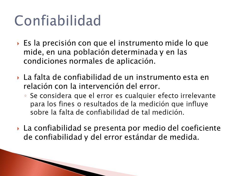 Confiabilidad Es la precisión con que el instrumento mide lo que mide, en una población determinada y en las condiciones normales de aplicación.