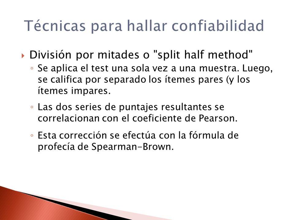 División por mitades o split half method