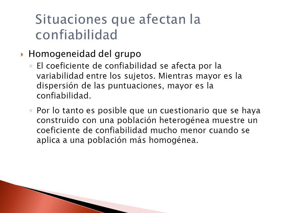 Situaciones que afectan la confiabilidad