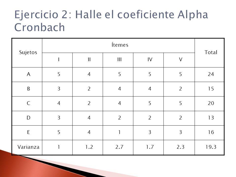Ejercicio 2: Halle el coeficiente Alpha Cronbach