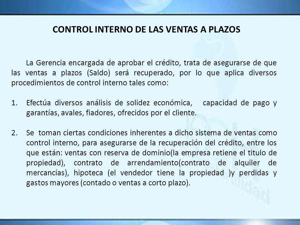 CONTROL INTERNO DE LAS VENTAS A PLAZOS