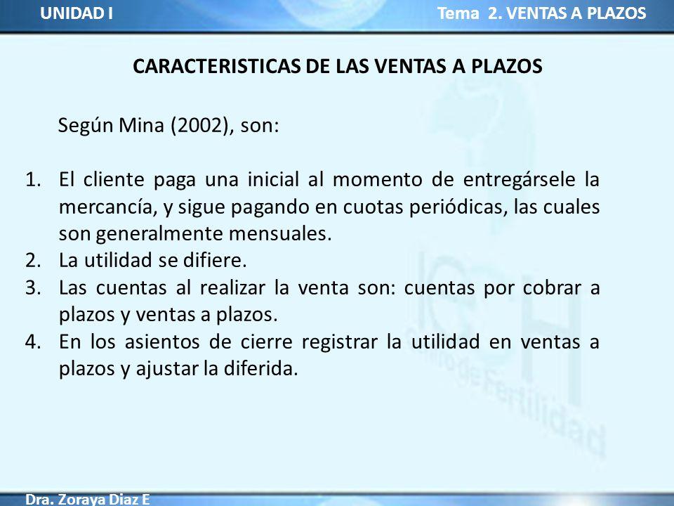CARACTERISTICAS DE LAS VENTAS A PLAZOS