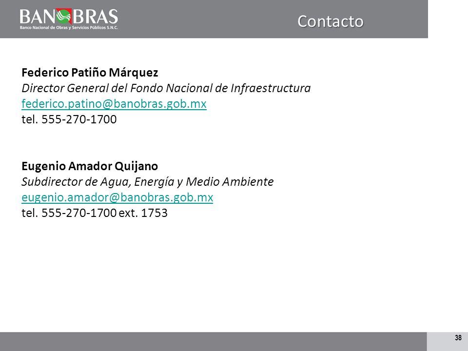Contacto Federico Patiño Márquez Director General del Fondo Nacional de Infraestructura federico.patino@banobras.gob.mx.
