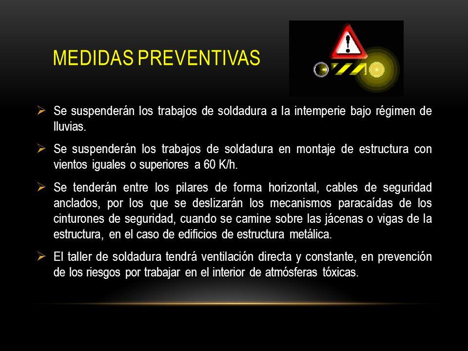 Medidas preventivas Se suspenderán los trabajos de soldadura a la intemperie bajo régimen de lluvias.