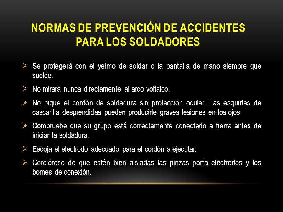 Normas de prevención de accidentes para los soldadores