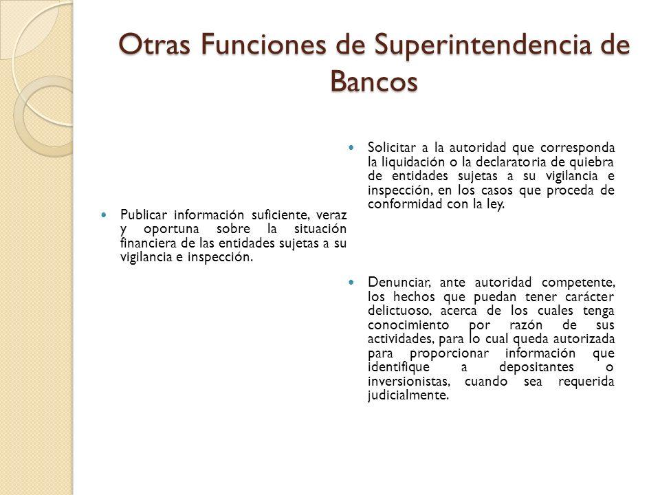 Otras Funciones de Superintendencia de Bancos