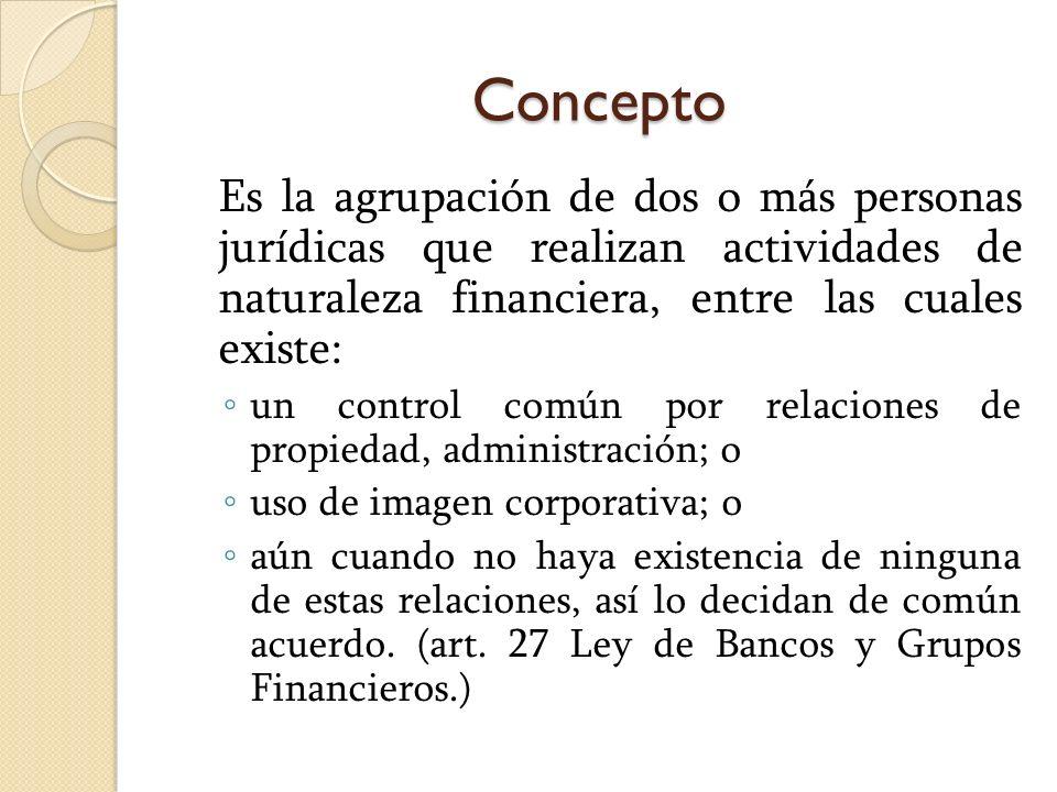Concepto Es la agrupación de dos o más personas jurídicas que realizan actividades de naturaleza financiera, entre las cuales existe: