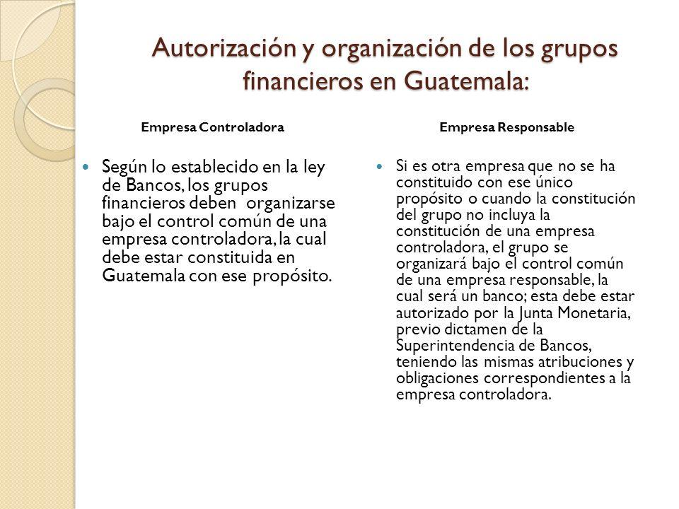 Autorización y organización de los grupos financieros en Guatemala: