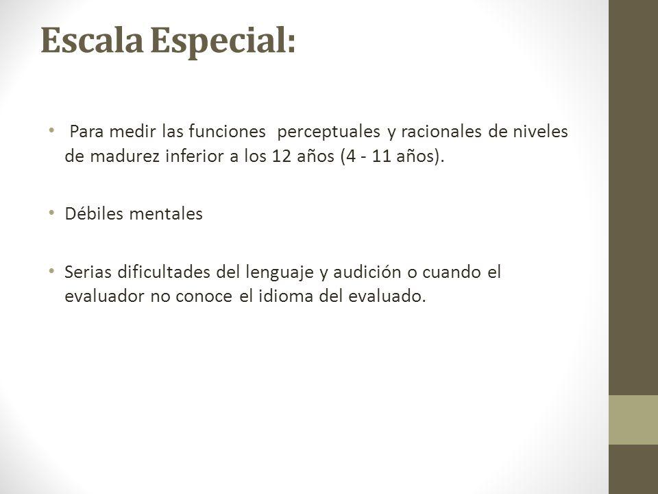 Escala Especial: Para medir las funciones perceptuales y racionales de niveles de madurez inferior a los 12 años (4 - 11 años).