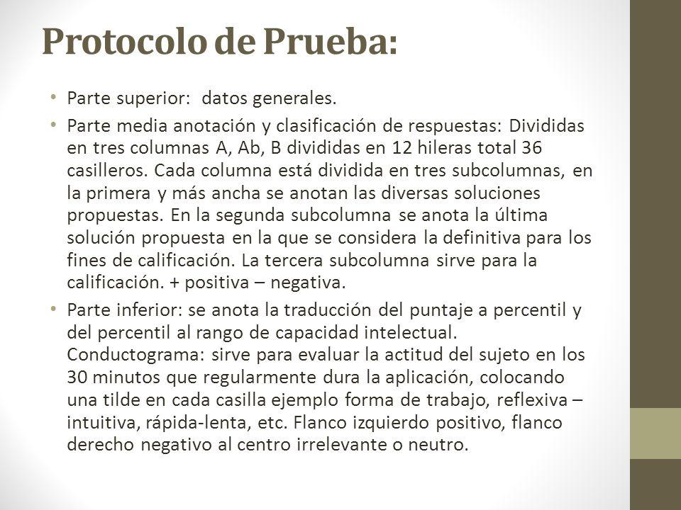 Protocolo de Prueba: Parte superior: datos generales.