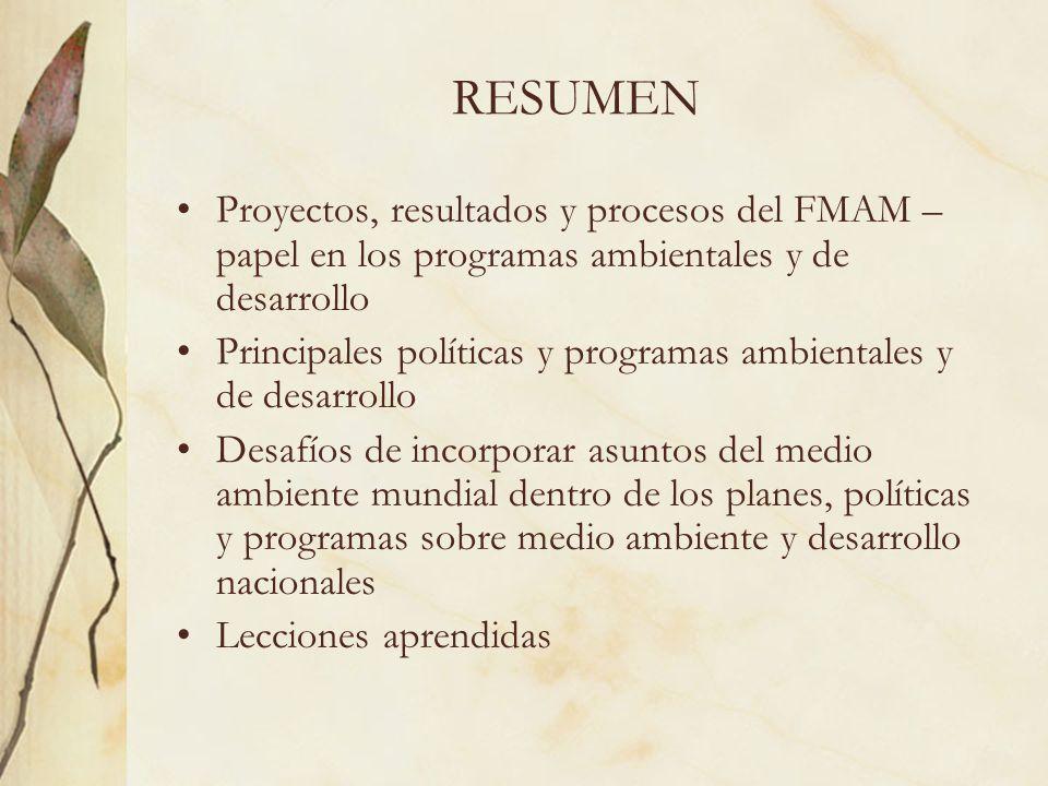 RESUMEN Proyectos, resultados y procesos del FMAM – papel en los programas ambientales y de desarrollo.