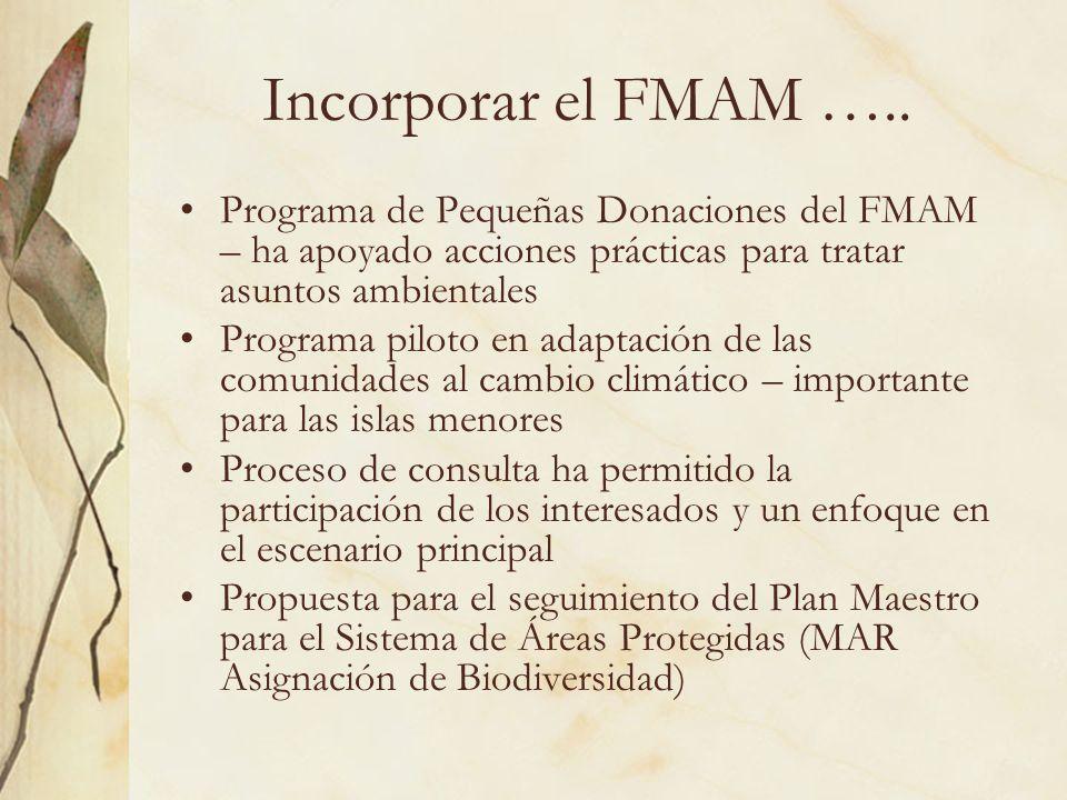 Incorporar el FMAM ….. Programa de Pequeñas Donaciones del FMAM – ha apoyado acciones prácticas para tratar asuntos ambientales.