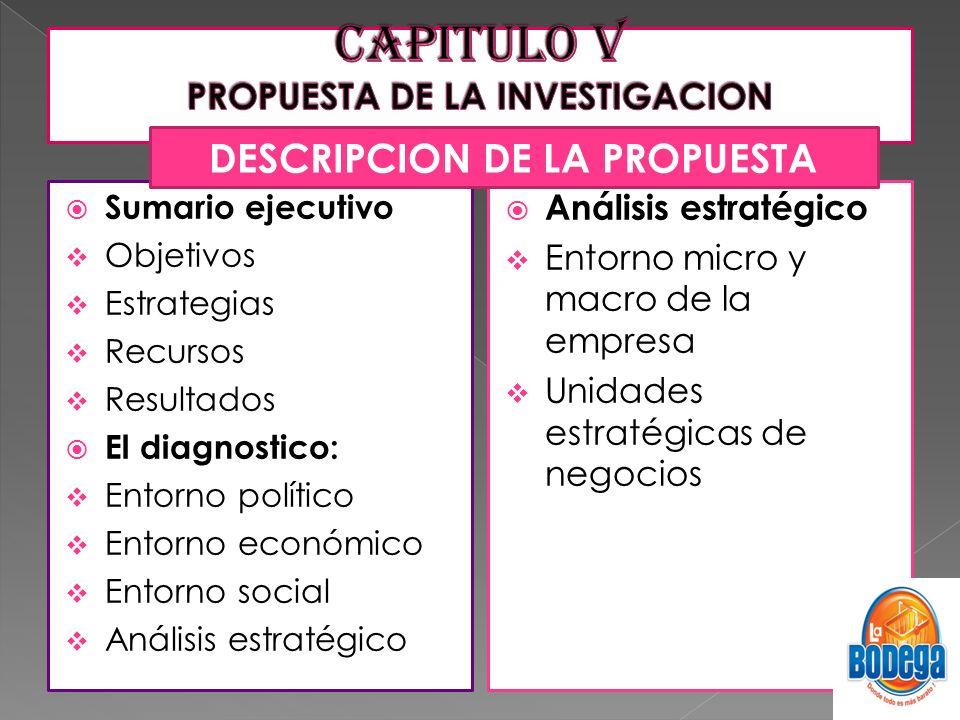 CAPITULO V PROPUESTA DE LA INVESTIGACION