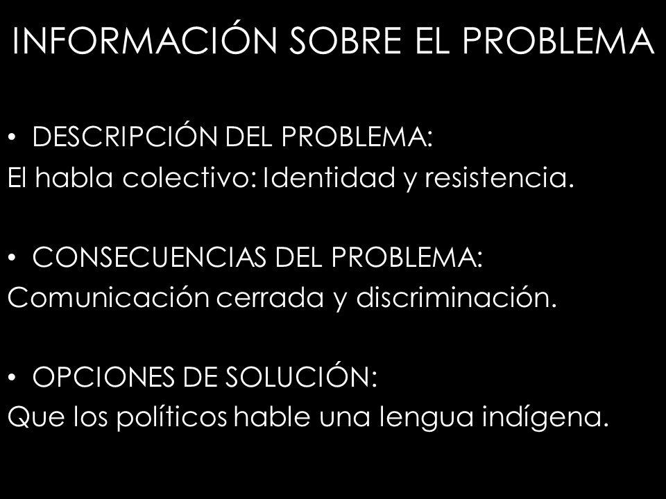 INFORMACIÓN SOBRE EL PROBLEMA