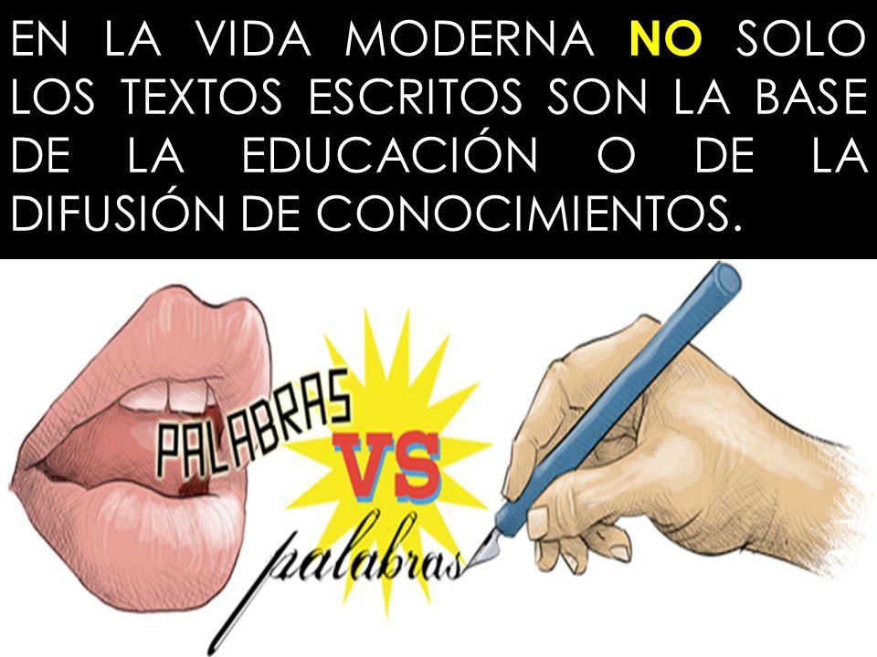 EN LA VIDA MODERNA NO SOLO LOS TEXTOS ESCRITOS SON LA BASE DE LA EDUCACIÓN O DE LA DIFUSIÓN DE CONOCIMIENTOS.
