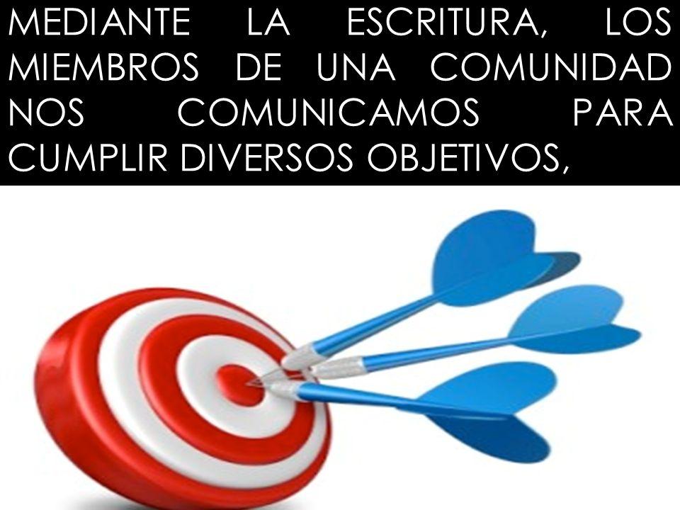 MEDIANTE LA ESCRITURA, LOS MIEMBROS DE UNA COMUNIDAD NOS COMUNICAMOS PARA CUMPLIR DIVERSOS OBJETIVOS,