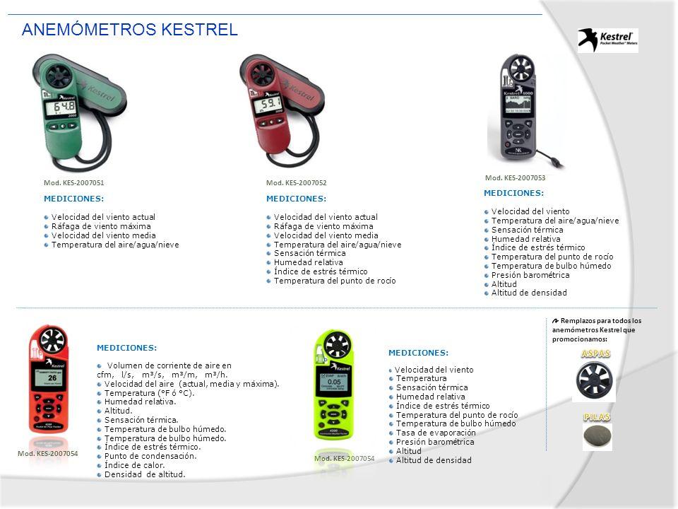 ANEMÓMETROS KESTREL ASPAS PILAS Mod. KES-2007053 Mod. KES-2007051